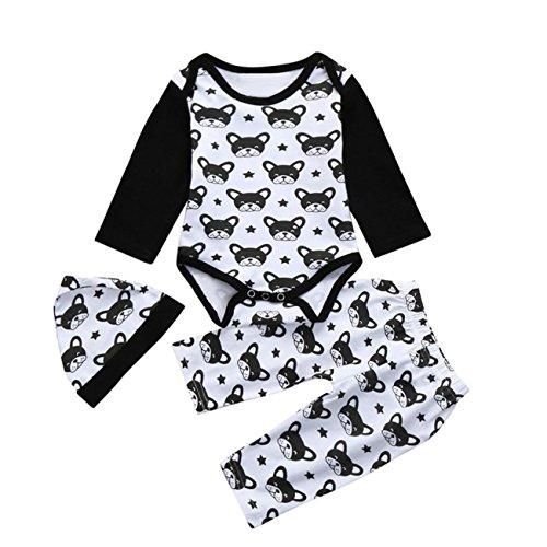 AmazingDays 3PC Newborn Baby Toldder Star Cartoon Romper+Pants+Hat Jumpsuit Clothes Set Baby Girl Infant Romper Outfit Newborn Girls Toddler Headband Jumpsuit For Bodysuit Pants Clothing