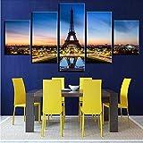 Gwgdjk Toile Peinture Salon Hd Prints Belle Édifice Photos 5 Pièce Affiche La Tour Eiffel Crépuscule Paysage Mur Art Hd Décoratif-10X15/20/25Cm,With Frame