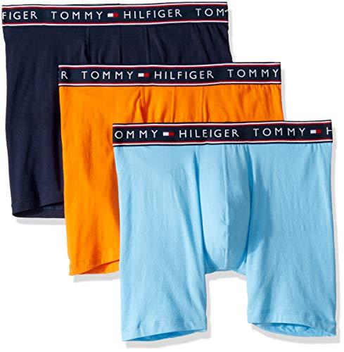 Tommy Hilfiger Herren Cotton Stretch Boxer Brief Slip, Blue Cloud, Medium (3er Pack) (Hilfiger Spandex Tommy Cotton)