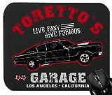 Touchlines - Toretto Garage 2 Fast 2 Furious Mauspad für Gaming und Grafikdesign 230x190x5mm Black