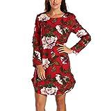 ELECTRI Robe en Coton et Lin de Grande Taille,Casual Robe Longue Femme Grande Taille Robes en Coton et Lin Caftan Longue à Imprimé Floral Manche Longue