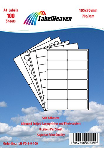 Labelheaven LH-VD-8-9-200, 1600 Stück (200 Blatt A4) Universal-Etiketten 105x70 mm, selbstklebend, mittelstark klebend, 70g/qm, geeignet für Inkjet- und Laserdrucker. - 1600 Inkjet
