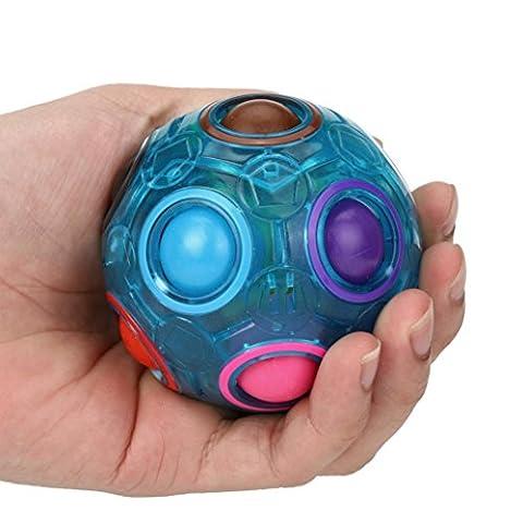 Magic Rainbow Ball, Leuchtende Stress Reliever Fun Cube Fidget Puzzle Bildung Spielzeug (blau)