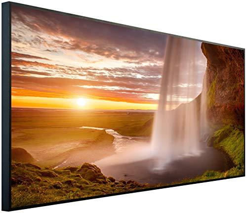 InfrarotPro | Infrarotheizung 750 Watt | Bildheizung 120x60x3 cm | Made in Germany | Geprüfte Technik | Ultra-HD Auflösung | (Wasserfall bei Dämmerung)