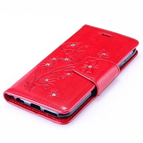 SainCat Apple iPhone 6 Custodia in Pelle,Anti-Scratch Protettiva Corpertura Caso Custodia Per iPhone 6s,Elegante Creativa Dipinto Pattern Design PU Leather Flip Ultra Slim Sottile Morbida Portafoglio  Farfalla con diamante,rosso