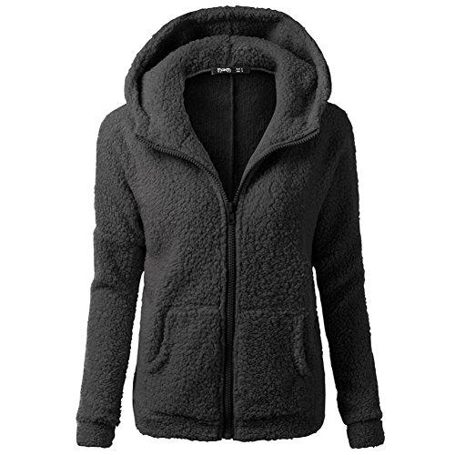 SHOBDW Mujeres de invierno de lana cálida cremallera abrigo con capucha suéter abrigo de algodón outwear (Blanco, L)