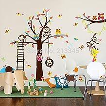 2016nuevo [sábado Monopolio] bricolaje Cartoon feliz Mono Árbol Búho pared vinilo adhesivos habitación del bebé niños dormitorio pared decoración del hogar pared adhesivo 1128