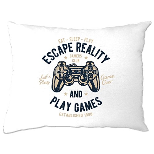 Gamer Kissenbezuge Flucht Reality And Play Games Gaming Distressed Entwurf - Distressed Weiß Computer