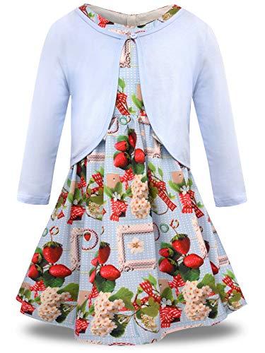 Erdbeere Kostüm Kleid - BONNY BILLY Mädchen Bekleidungsset 2tlg Langarm