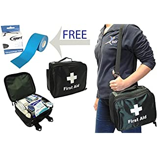BST 257 Piece Field Sports Premier Physio Football Rugby Hockey Run On Full Medical First Aid Kit Bag - Free Roll of Kinesiology Tape