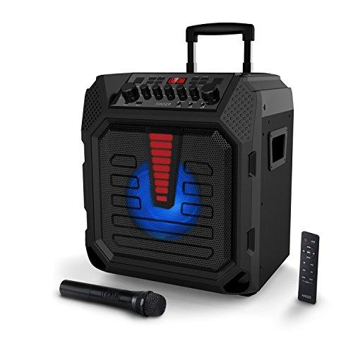 HAISER HSR 120 | 400 Watt Musikleistung mit • Akku • kabellosem Mikrofon • Bluetooth • NFC • USB • Power Bank • MP3 • Radio • AUX-IN • Gitarren-Eingang • LED Front Light • Fernbedienung • Tablet-Ständer| MIDOX Mobile Musik-Box-Anlage Mobiler-Lautsprecher Karaoke-System Akku-Lautsprecher Gitarren-Verstärker Party-Lautsprecher-Soundsystem Trolley mit leistungsstarkem Bass Modell 2018