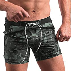 LEORTKS Bañador Verano Pantalones Cortos para Hombre Camuflaje Playa Secado Rápido Bañador Fitness Culturismo Bañador Hombre Playa Natación