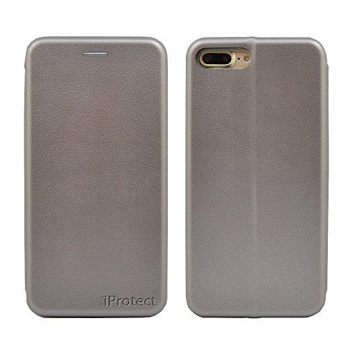 iProtect iPhone 7 Tasche im Bookstyle mit integriertem Magnetverschluss in Schwarz grau
