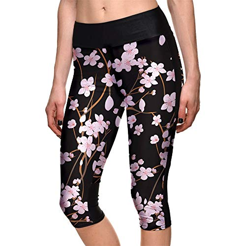 Damen Laufhose Leggins, Damen 3/4 Länge Capris Blumendrucke Cropped Leggings Sommer Strumpfhosen Skinny Elastic Active Workout Sexy Gym Laufen Fitness Yoga Hosen Yoga Sporthose Stretch-Hose Lauf-Tight - Länge Leggings Footless Tights