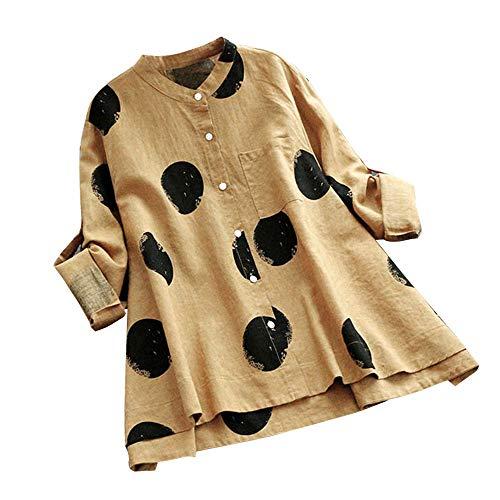 MEIbax Damen Plus Size Bluse Langarm Knopf Tasche Casual Tops Shirt Lose Oberteile