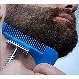 yoofor Barbe Styling Tool Barbe Pochoir et barbe peigne en ABS plastique de haute qualité, Barbe raser Modèle Outils pour lignes Parfait et symétrie de bleu