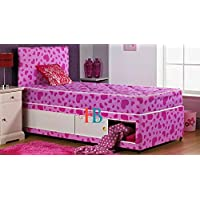 HeavenlyBeds @ 3ft Single Girls Pink Love Heart Divan Storage Bed & Mattress & Headboard Set (Pink Love Heart, 3ft | 2 Drawers)