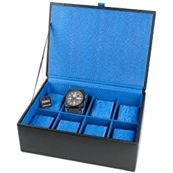 Dulwich Black Leather Watch Box - 8 Sections With Blue Lining 70908