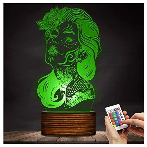 3D dekoratives Nachtlicht LED Tischleuchte 3D Nachtlicht Mädchen Zucker Schädel Dia De Los Muertos Halloween Atmosphäre Beleuchtung Dekor Geschenk Emotionales Nachtlicht