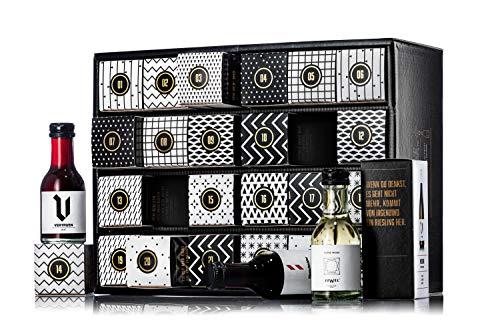 Wein Adventskalender 2019 mit 24 x 100ml Wein-Mini Flaschen 9-15 {49dbbad1fc665f464304dccabee87d9c287ff396d1ef741fe48bd02ea74165cb}, ideal als Wein Geschenk für Weinliebhaber - der Weihnachtskalender für Erwachsene mit Stil