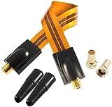 Poppstar 1x 28cm SAT Fensterdurchführung (Koax Kabel sehr flach 0,2mm), 2x F-Stecker, 2x Gummitülle, für Fenster und Türen, vergoldete Kontakte, orange