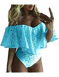 Manadlian Femmes Bodysuit Jumpsuit Combinaisons, Femmes Bardot Volant Dentelle épaule Body Stretch Partie Justaucorps Haut