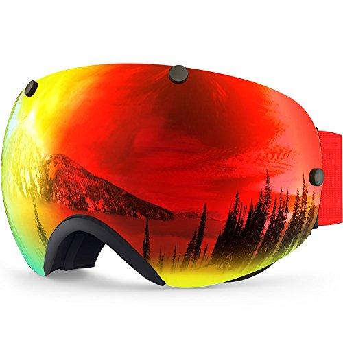 ZIONOR Lagopus XA Professionale Snowmobile Snowboard Skate Occhiali da sci e Super Wide Angle Lente Anti Nebbia Big Sferica Unisex Adulto Multicolor Maschere da sci (Nero Rosso)