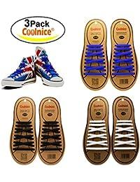 Coolnice® Lacets Elastique No Tie Lacets Imperméables en Silicone pour Chaussure Adults et Enfants Sports Shoes Sneaker Conseil -Couleur Divers