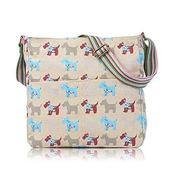 Crème Motif Scottish Terrier Westie Motif chiens Schnauzer Sacoche à bandoulière en toile pour femme