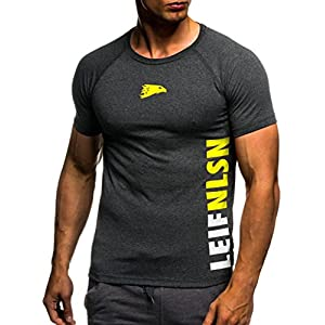 Leif Nelson Gym Herren Fitness T-Shirt Slim Fit Moderner Männer Bodybuilder Trainingsshirt Kurzarm Top Herren Sport T-Shirt – Bekleidung für Bodybuilding Training 6279