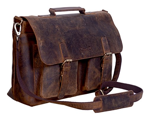 komalc 45,7 cm Retro Buffalo Hunter Leder Laptop Messenger Bag Büro Aktentasche College Tasche für Damen und Herren (Neue Leder Buffalo)