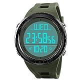 Herren Uhren Digitaluhren, COOLANS Herren Armbanduhr Teenager Digital Sport Uhren,Wasserdichte Armbanduhr mit Wecker Chronograph Uhr,LED Licht Gummi große Anzeige für Herren -Schwar+Armee Grün