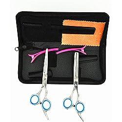 JYHY - Juego profesional de herramientas para cortar y para desfilar el pelo, tijeras de peluquería o para corte familiar, de 15,24 cm (en azul)