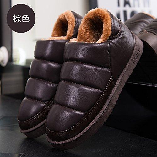 Doghaccd Pantoufles, Hiver Imperméable Pu Cuir Hommes Et Femmes Matures Coton Snow Boots Courtes Et Serrées Étudiants Coton Chaud Chaussures Plates Femme Chaussures Brown2