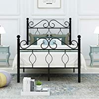 DUMEE Metal Bed Frame Single Size Black Heavy Duty with Headboard and Footboard Iron Easy Assembley