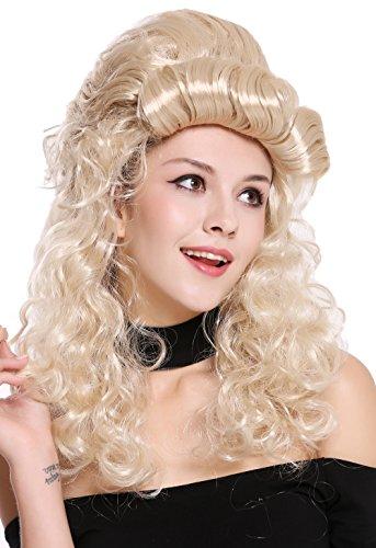 83 Perücke Damen Halloween Karneval Barock Renaissance Hochsteckfrisur lang lockig blond (Blonde Kolonial Dame Perücke)