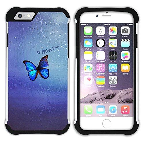 Graphic4You Music Notes With Butterflies Design Hart + Weiche Kratzfeste Hülle Case Schale Tasche Schutzhülle für Apple iPhone 6 / 6S Design #11