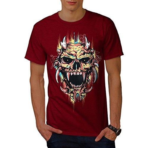 wellcoda Satan Teufel Unheimlich Schädel Männer T-Shirt, Dämon Grafikdesign gedruckt Tee