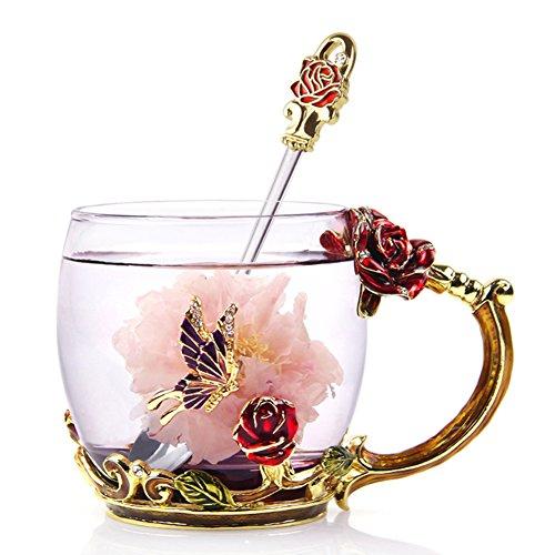 NBHUZEHUA Frauen Einzigartige Neuheit Blumen Glas Kaffeetassen Tassen Mit Löffel Kurz 330ml Gläser Frauen