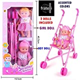 FRATELLI ® - Baby Doll Collection (Stroller with Babies - Real Stroller / PRAM for Your Baby Dolls)