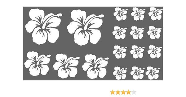 Xl Design Set O In Weiss 17 Stück Hibiskus Blüten Autoaufkleber Blumen Oder Wandtattoo Selbstklebende Aufkleber Fürs Auto Wandsticker Out Indoor Wandaufkleber Fensterbild Wählen Sie Aus 32 Farben Küche