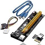 PCIe Riser Tarjeta adaptadora Conjunto, Incluir 4Pin PCI-E a SATA Cable de energía, 60cm USB 3.0 Cable de extensión, Minería Dedicada Adaptador GPU, 1X a 16X Enhanced Extender Powered, Perfecto para la tarjeta gráfica GPU Express Ethereum Mining ETH (1 Pieza)
