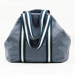 Blau große Tasche für Damen zum Baumwolle Leinwand und mit Innentaschen mit Griffen in Marine und Creme, für Wochenendausflüge, Strandausflüge