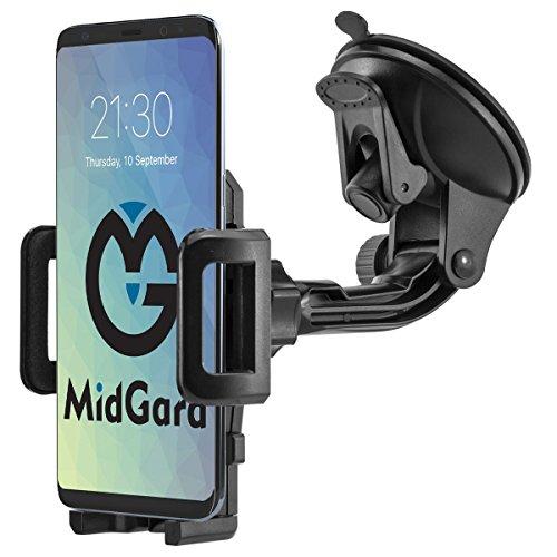MidGard Universal 360° drehbar KFZ Auto Saugnapf Handy Smartphone Halterung Halter für Apple iPhone SE, 5, 5S, 6, 6S, 7, 7 Plus / Samsung Galaxy S8, S8+, S5, S6, S7, S7 Edge, Note 4, Note 5, Note Edge / Huawei P10, P8, P9, Lite, Plus / Sony Xperia Z3, Z5, Premium, Compact, XZ, X / HTM M8, M9, M10 und andere Handy, Smartphone, Phablet, Navigationsgeräte usw.