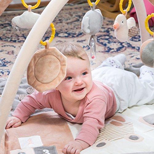 Baby Spieldecke mit Spielbogen. Grau Spielmatte für Baby. Die beste Krabbeldecke / Erlebnisdecke für Mädchen und Junge.