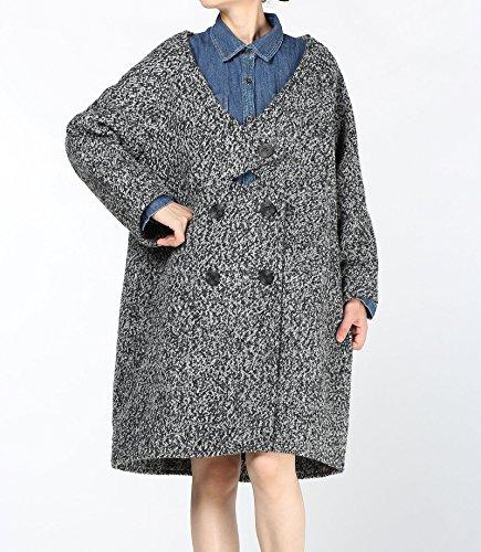 Vogstyle Damen Mantel Wool Coat Mit Ein chinesischer Knopf Lang Mantel Schwarz Grau