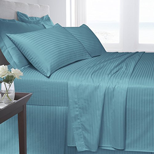 Homefurnishing Luxury Hotel Quality 250 Thread Satin Stripe 100% Egyptian Cotton Duvet/Quilt Cover Set With All UK Sizes (Super King, Teal)