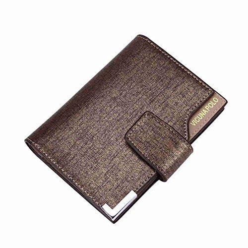 Bifold Brieftasche Für Männer Business PU Geld Clip Kurze Schnalle Karte Tasche,Gold