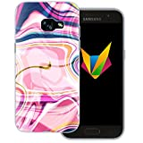 Mobilefox Liquid transparente Silikon TPU Schutzhülle 0,7mm dünne Handy Soft Case für Samsung Galaxy A3 (2017) Liquid Pink - Verlauf Hülle Cover Gel