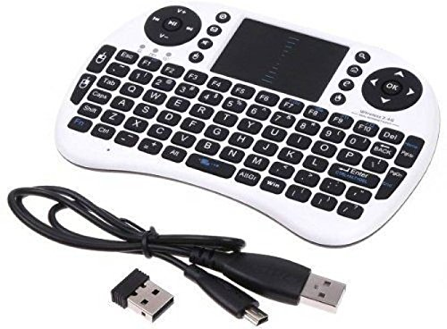 Microware Mini Bluetooth Wireless DPI Touchpad Keyboard Mouse Combo Bluetooth Gaming Keyboard (White, Black)